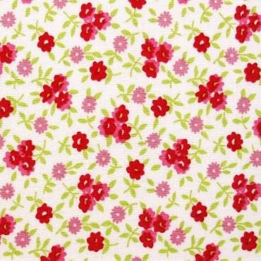 Florecitas en rojo y rosa