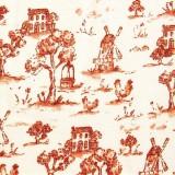 Tela patchwork: molinos y casas en tonos naranja