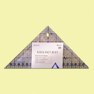 Regla triangular para patchwork de 15 cm