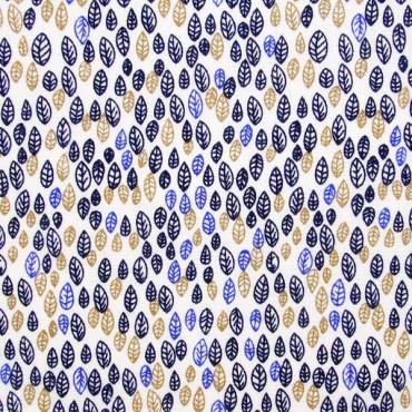 Tela patchwork hojitas en tres colores sobre blanco