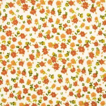 Tela patchwork florecitas en terracota