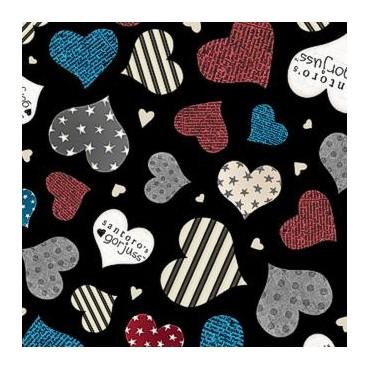 Tela patchwork Simply Gorjuss corazones sobre negro