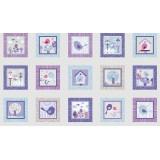Panel patchwork pajaritos en lila, lavanda y azul