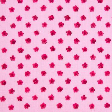 Tela patchwork florecitas frambuesa sobre rosa claro