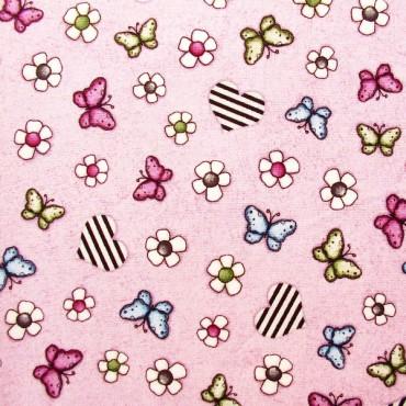 Tela patchwork Gorjuss On Top of the World mariposas sobre malva
