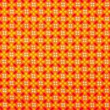 Tela patchwork florecitas geométricas sobre naranja 1