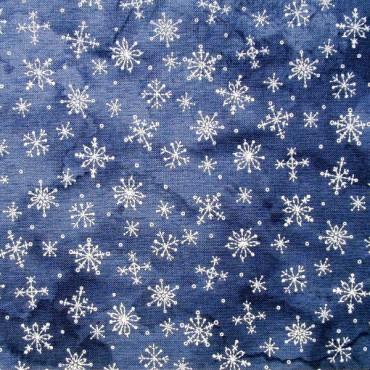 Tela patchwork cristales de nieve sobre azul