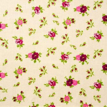 Tela patchwork rositas en rosa y ciruela
