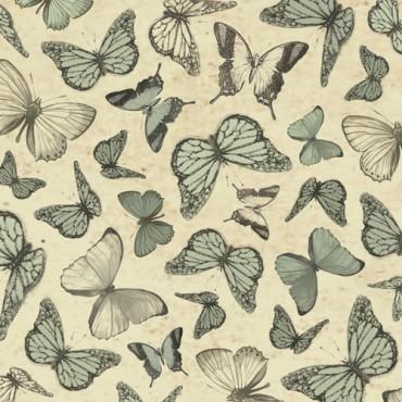 Tela patchwork Mirabelle mariposas en verde menta