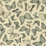 Tela patchwork Mirabelle mariposas en verde musgo