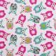 Tela patchwork buhos en turquesa y rosa