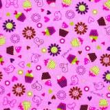 Tela patchwork cupcakes sobre rosa 1