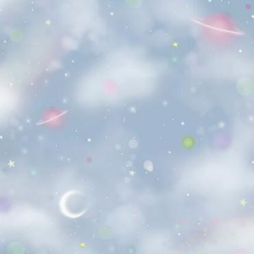 Tela patchwork Gorjuss Rainbow Dreams universo en azul claro