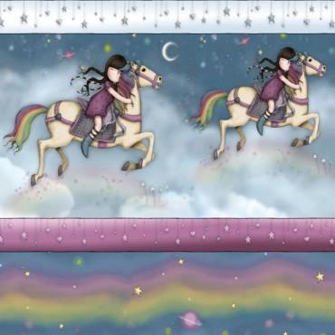 Tela patchwork Gorjuss Rainbow Dreams cenefa de muñequitas en su caballo
