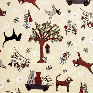 Tela patchwork Time With Friends perros y gatos sobre beige