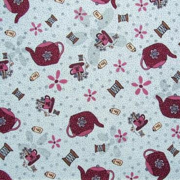 Tela patchwork Needles and Pins teteras y tazas sobre azul