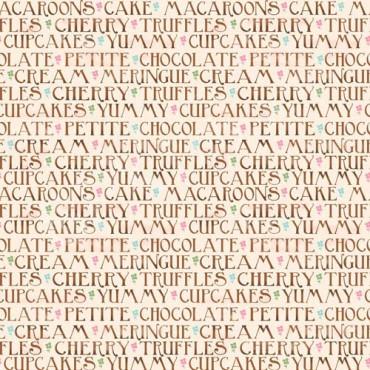 Tela patchwork Sugary Sweet palabras de repostería