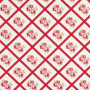 Tela patchwork Lulu Roses cuadros con ramitos de rosas
