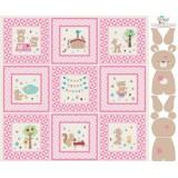 Panel patchwork Teddy Bear's Picnic en rosa