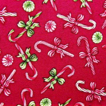 Tela patchwork Christmas Elegance bastones de caramelo