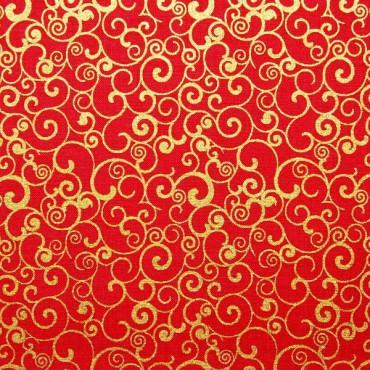 Tela patchwork de Navidad espirales doradas sobre rojo