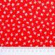 Tela patchwork hojitas y lunarcitos blancos sobre rojo 2