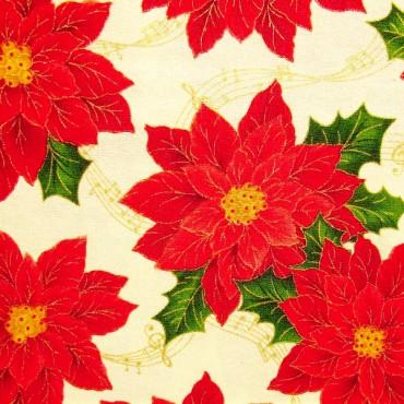 Tela patchwork Sounds of the Season poinsetias rojas