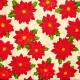 Tela patchwork Sounds of the Season poinsetias rojas 3