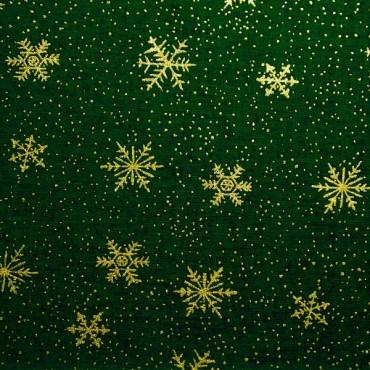 Tela patchwork cristales de nieve sobre verde