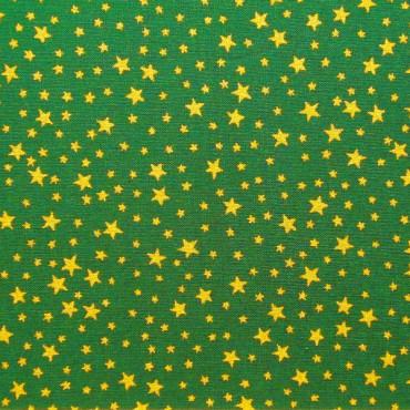 Tela patchwork de Navidad estrellitas doradas sobre verde oscuro