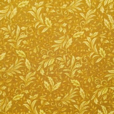 Tela patchwork A Mum for a Mum entramado de hojitas en mostaza