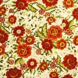 Tela patchwork Carmen flores en naranja óxido 1