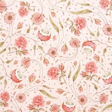 Tela patchwork Mirabelle Curiosity flores sobre rosa