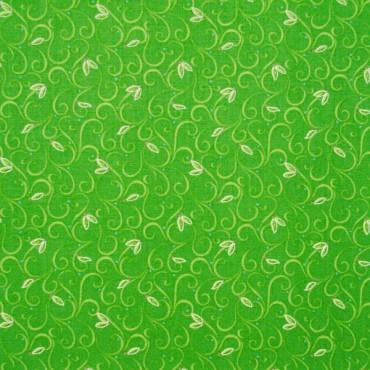 Tela patchwork de Navidad Sparkle filigranas y hojitas en verde