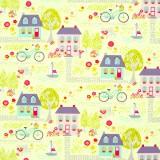Tela patchwork Sunday Ride casitas sobre verde 1