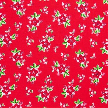 Tela patchwork de Navidad Pixie Noel poinsetias sobre rojo