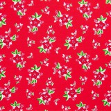 Tela patchwork de Navidad Pixie Noel poinsetias sobre rojo 1