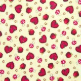Tela patchwork Gorjuss My Story corazones, setas y manzanas sobre beige 1