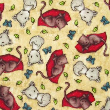 Tela patchwork Gorjuss My Story zorritos y gatitos sobre ocre