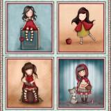 Panel patchwork Gorjuss My Story cuatro muñequitas 1