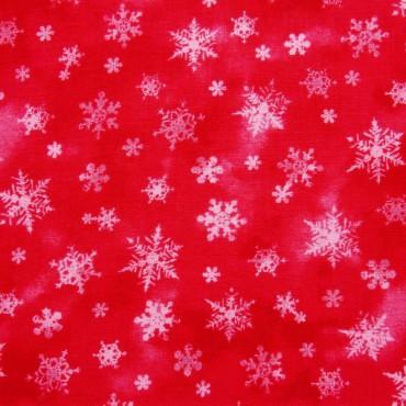 Tela patchwork de Navidad Holiday Elegance cristales de nieve sobre rojo