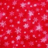 Tela patchwork de Navidad Holiday Elegance cristales de nieve sobre rojo 1