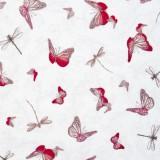 Tela patchwork Mirabelle La Vie en Rose mariposas sobre blanco 1