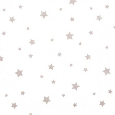 Tela patchwork estrellas grises sobre blanco
