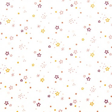 Tela patchwork estrellitas rosas sobre blanco