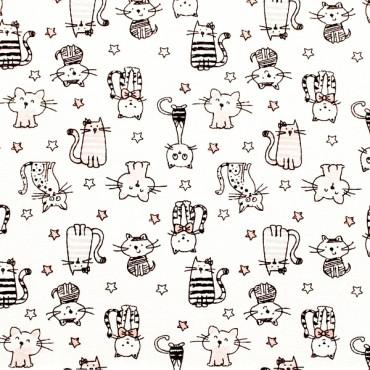 Tela patchwork gatitos en negro, gris y rosa