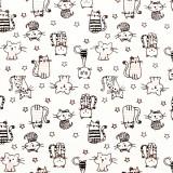 Tela patchwork gatitos en negro, gris y rosa 1