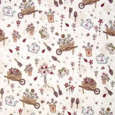 Tela patchwork Pocketful of Daisies cosas de jardín sobre arena