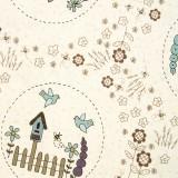 Tela patchwork Stonehouse Garden escenas de jardín 1
